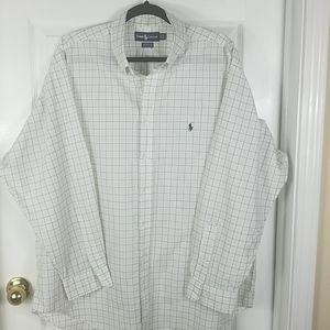 Ralph Lauren, men's white plaid shirt, size 17 1/2